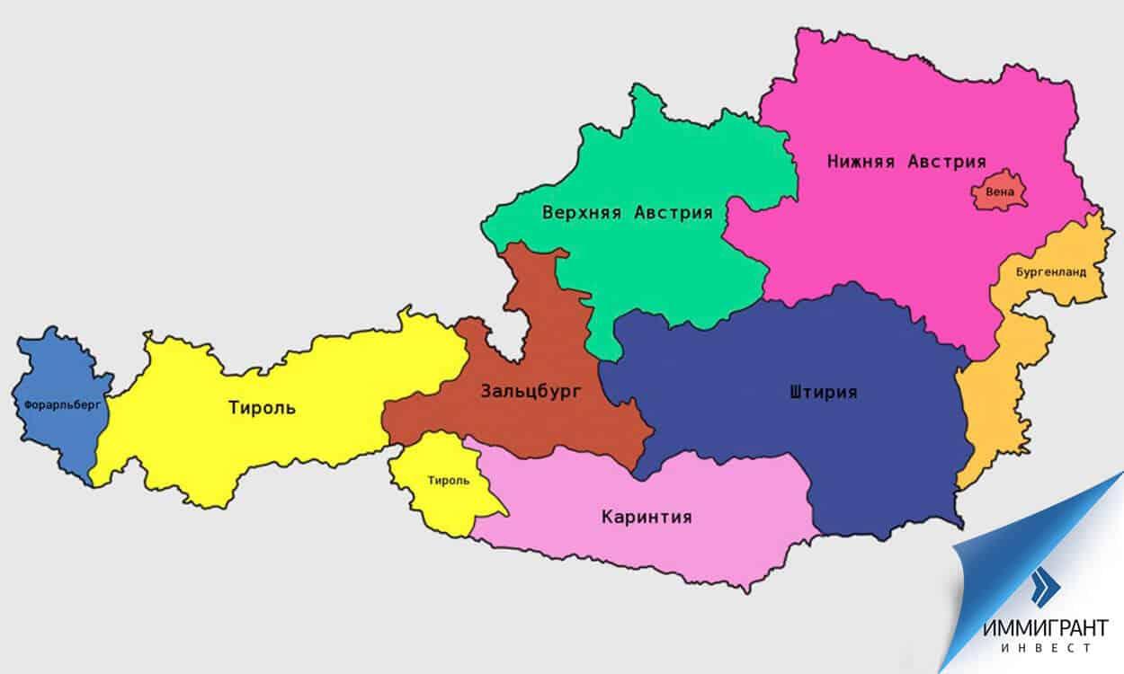 Карта федеральных земель Австрии