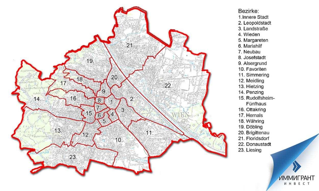 Районы Вены сильно различаются как по размерам, так и по характеру застройки