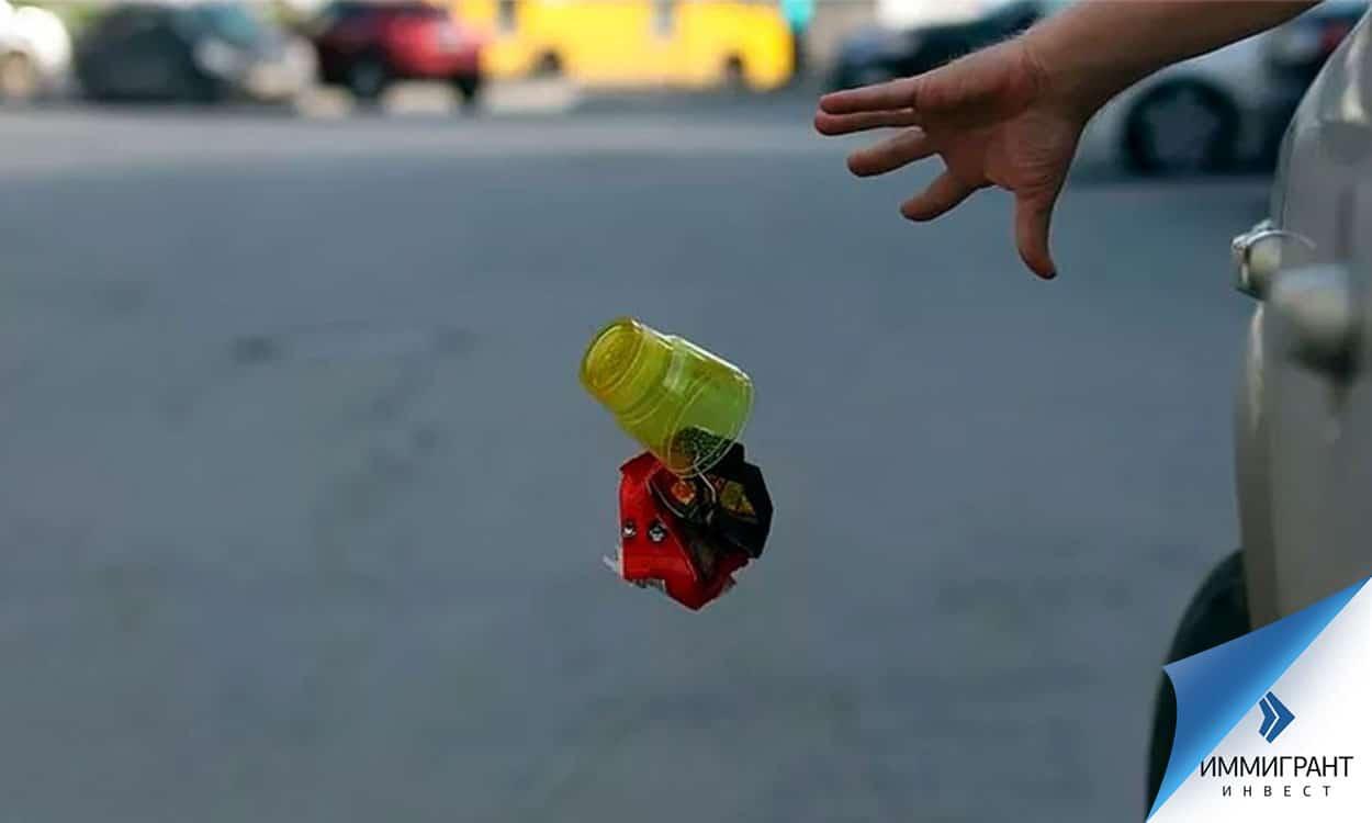 Выбрасывают мусор из машины на дорогу