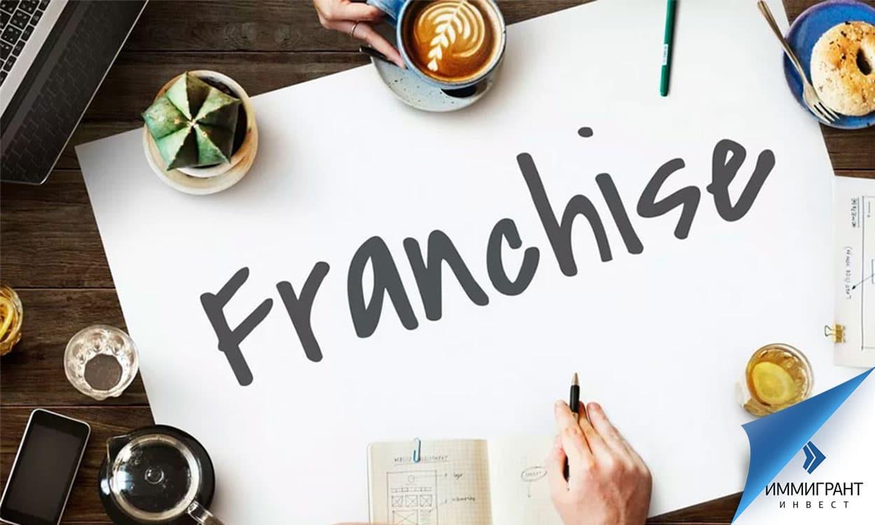 Слово «франшиза» на белом листе бумаги